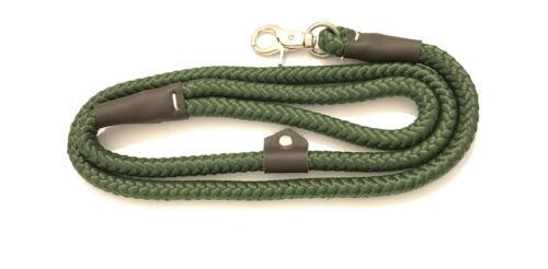 Dog Slip Lead Nylon Rope 122cm x 10mm Strong Big//Small Hook Khaki