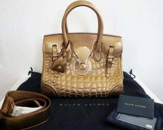 5f85c2047af8  2950 RALPH LAUREN COLLECTION SOFT RICKY 27 GOLD QUILTED Nappa Leather Bag  Tote