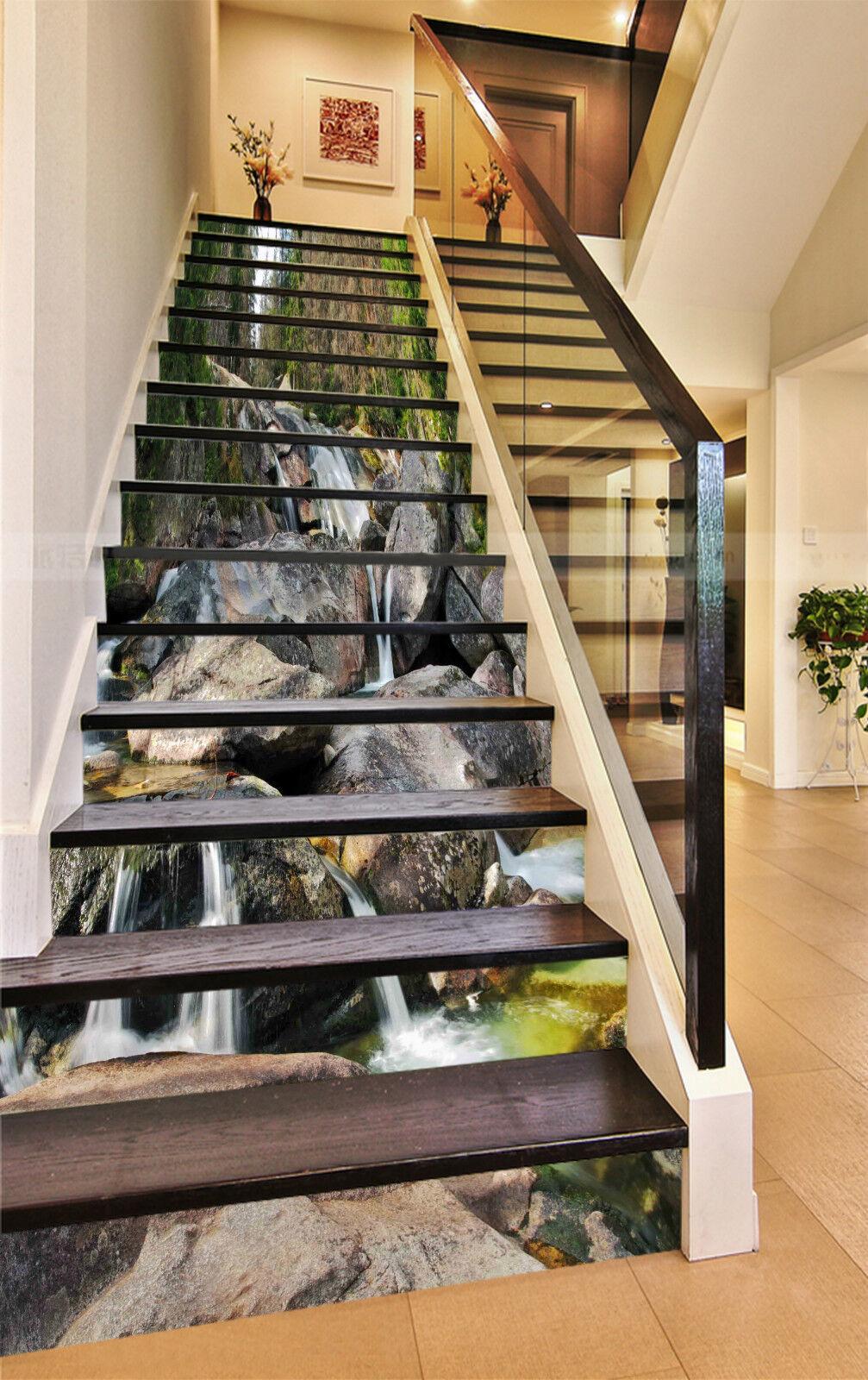 3D Stein Fluss 932 Stair Risers Dekoration Fototapete Vinyl Aufkleber Tapete DE