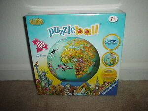 108-PC-RAVENSBURGER-3-D-GLOBE-PUZZLEBALL-AGES-7-UP-JIGSAW-PUZZLE-NEW