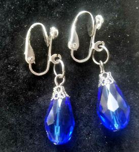 Clip On Drop Dangle Earrings Faceted Cobalt Blue Glass Gunmetal, Steampunk, Goth