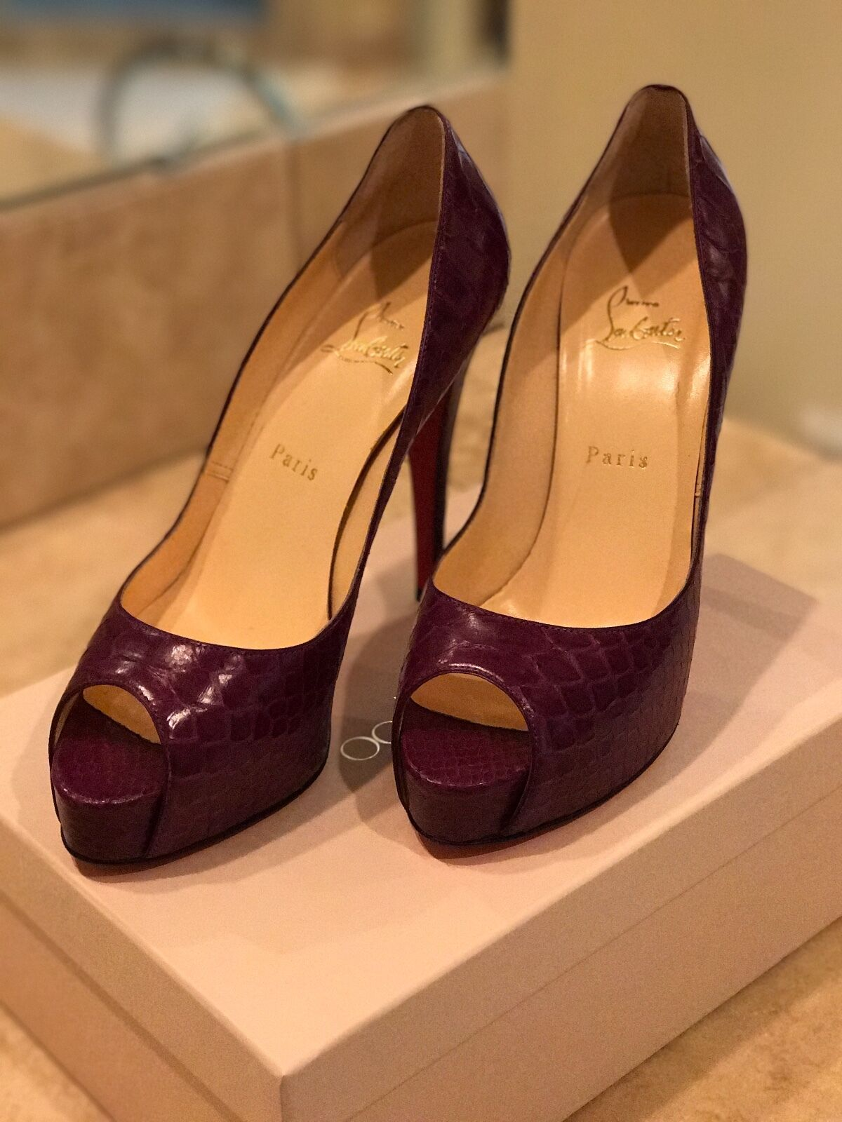 Christian Louboutin, Size 39, Very Very Very Prive in Purple Python 6a38e1