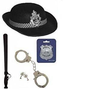 British WPC policía Mujer Sombrero Insignia Corbata cachiporra puños Fancy Dress 5 Piezas Set