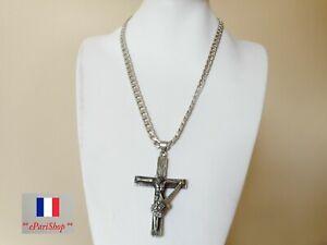 COLLIER-Pendentif-JOHNNY-HALLYDAY-Christ-croix-Bijou-Femme-Homme-en-Acier-inox