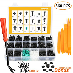 EZYKOO Push Bumper Fastener Rivet Clips with 18 Most Popular Sizes Auto Push Pin