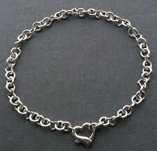 """100% AUTHENTIC 925 Sterling Silver HEAVY HEARTS TOGGLE necklace 16"""" AAA"""