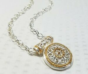 Silver-and-Gold-Tone-Filigree-Medallion-Pendant-and-Chunky-Chain-Link-Choker