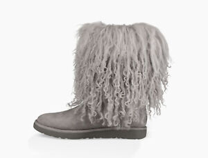 ad96a38633f Details about UGG Lida Mongolian Sheepskin Cuff Gray Suede Classic Boots  Size 6 Womens~New!