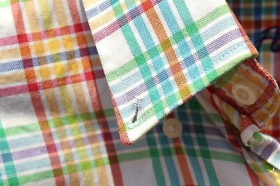 Alan Flusser L Gentleman's White, Green, Blue, Violet, Yellow Check Cotton Shirt