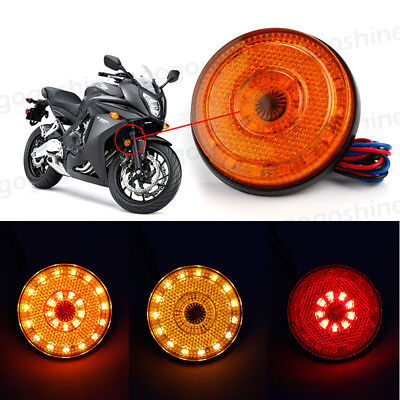 2x Car Motorcycle Round Rear Tail Brake Stop Turn Signal Reflector 24 LED Light