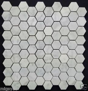 Image Is Loading Hexagonal Tiles Carrara Marble Mosaic 30x34mm Hexagon Tile