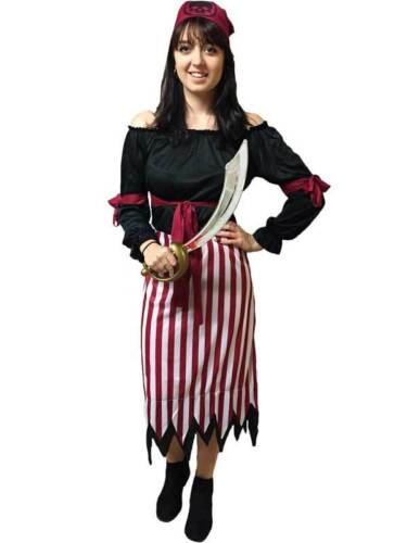 Adult Pirate Lady Womens Fancy Dress Costume Ladies Caribbean High Seas Wench