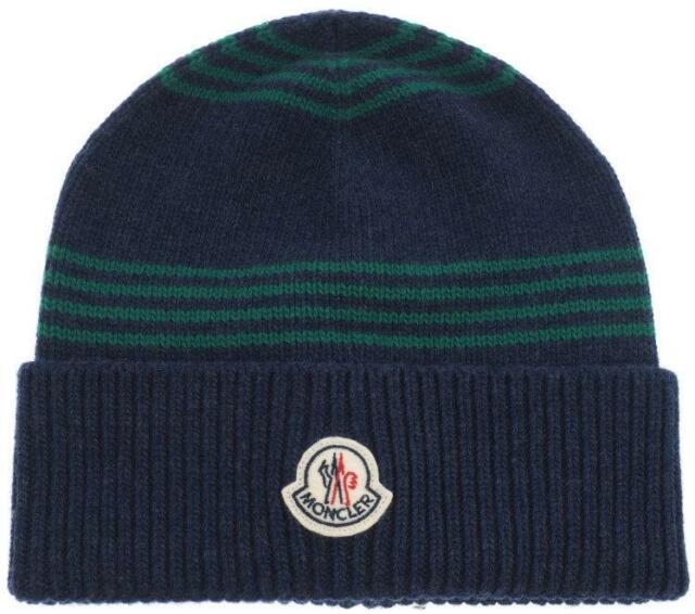a7307335330 MONCLER LARGE LOGO NAVY BLUE Ribbed Virgin Wool Beanie Cap Hat ONE ...