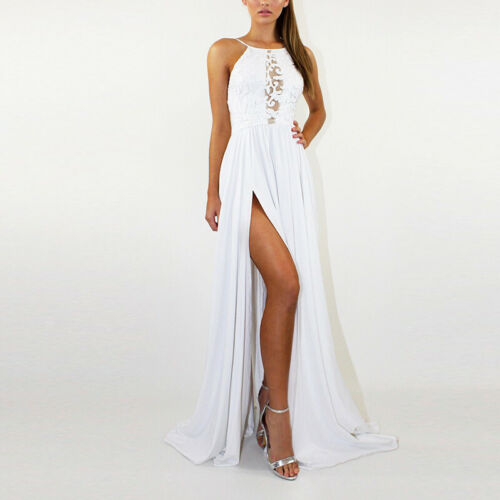 Women Halter Neck Lace Floral Long Dress Ladies Maxi Dress Party Evening Gown UK