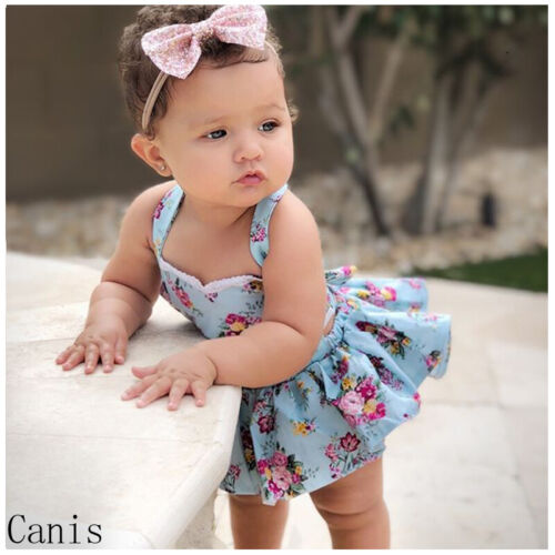 Newborn Baby Girls Floral Ruffled Dress Romper Bodysuit Playsuit Sundress Summer