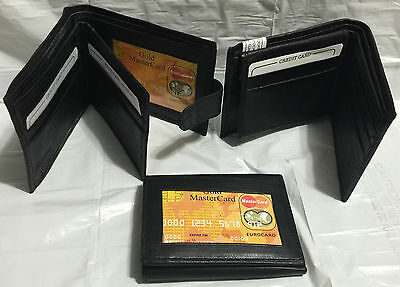 Paul Walter Mens Black Leather Bifold / Trifold Wallets Lot of 3 wallets