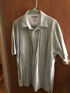 Wrangler-men-039-s-2XL-check-button-front-shirt-green-Checked-Short-Sleeve