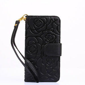 Dust-Plug-Vintage-Emboss-Flower-Flip-Wallet-Shell-PU-Leather-Magnetic-Case