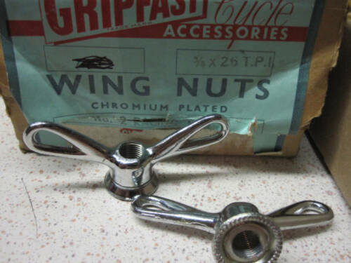 "RARE Vintage PHILLIPS Wing Nuts 3//8/""x26T 1 pair for Front or rear hubs NOS 1950s"