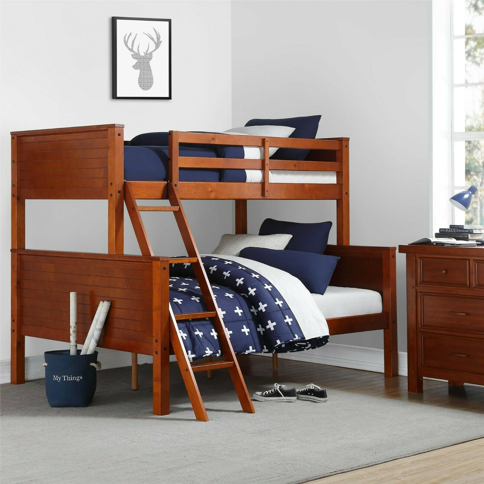 Bunk Beds Twin Over Full For Kids Adults Convertible Wood Walnut
