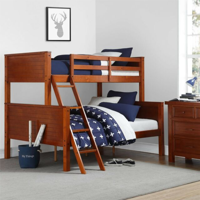 Bunk Beds Twin Over Full For Kids S Convertible Wood Walnut Stairs Bedroom