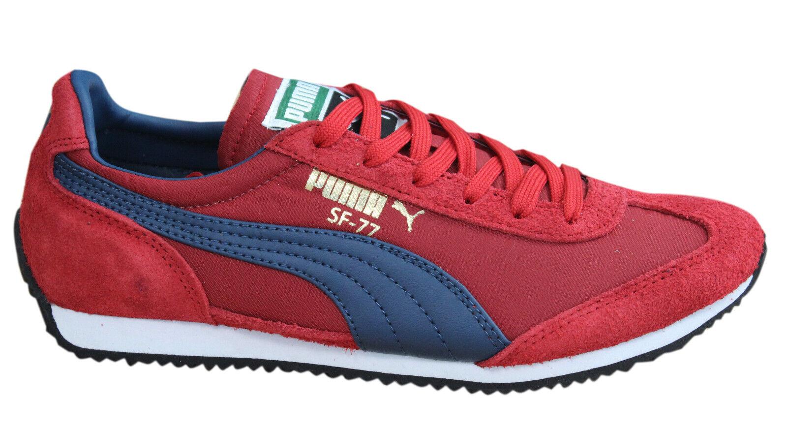 Puma Leder SF77 HERREN TURNSCHUHE SCHNÜRSCHUHE Rot Blau Leder Puma Textil 354656 08 D94 b94bd9