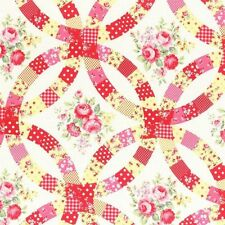 White Floral Sugar Fall Roses Lecien Japan Cotton Fabric #3548 By the Yard