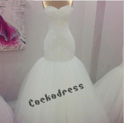 Luxury Crystals Vintage Mermaid Wedding Dress White//Ivory Corset New Bridal Gown