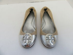1e8600724 TORY BURCH TAN LEATHER SILVER METAL CAP TOE LOGO BALLET FLATS SZ 7.5 ...