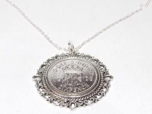 Anniversary sixpence Fancy pendant plus 18inch chain 1937-1952 Birthday