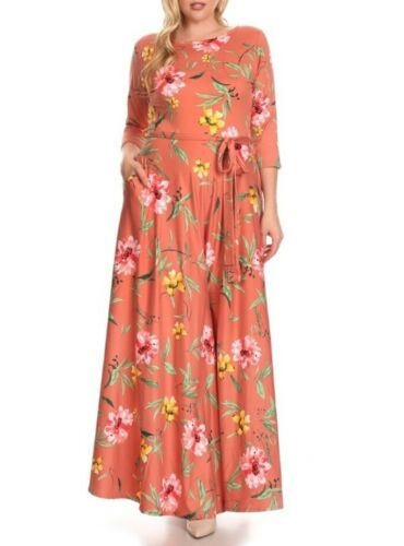 Plus Size Boho Floral Jersey Belted Fit /& Flare Maxi Dress Sage Green