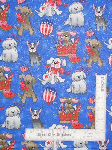 Patriotic-Picnic-Puppy-Dogs-Watermelon-Blue-Cotton-Fabric-Traditions-By-The-Yard