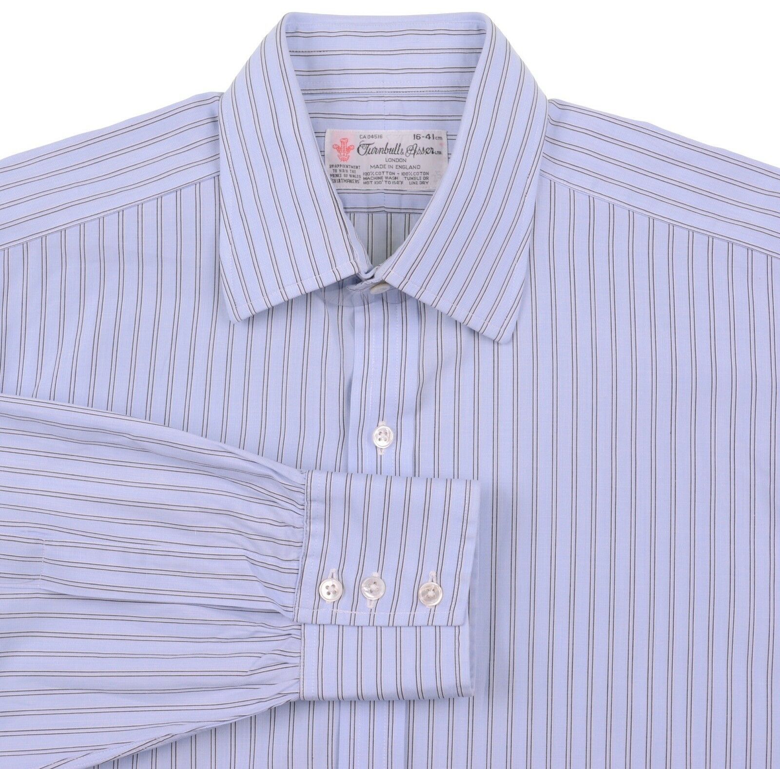 Turnbull & Asser Blau Multi Stripe 100% Cotton Dress Shirt 16