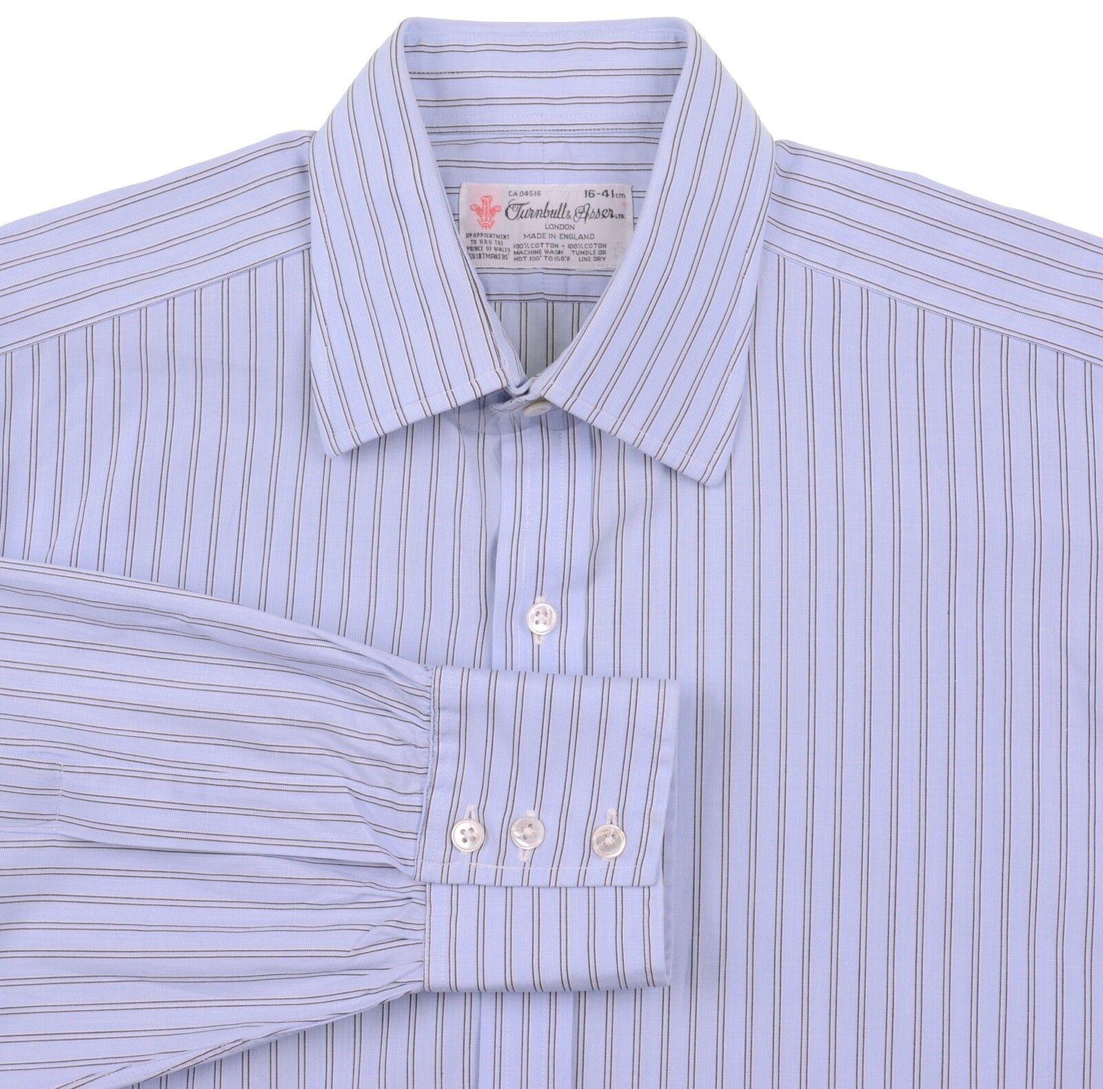 Turnbull & Asser bluee Multi Stripe 100% Cotton Dress Shirt 16