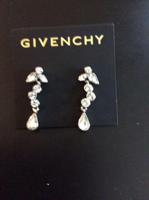 8c2b444c8 $32 Givenchy Swarovski Crystal Silver Tone Dangle Earrings MSRP Item # 326C  GE