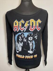 ACDC AC/DC World Tour 79 Distressed Print Black Sweatshirt Jumper Pullover M