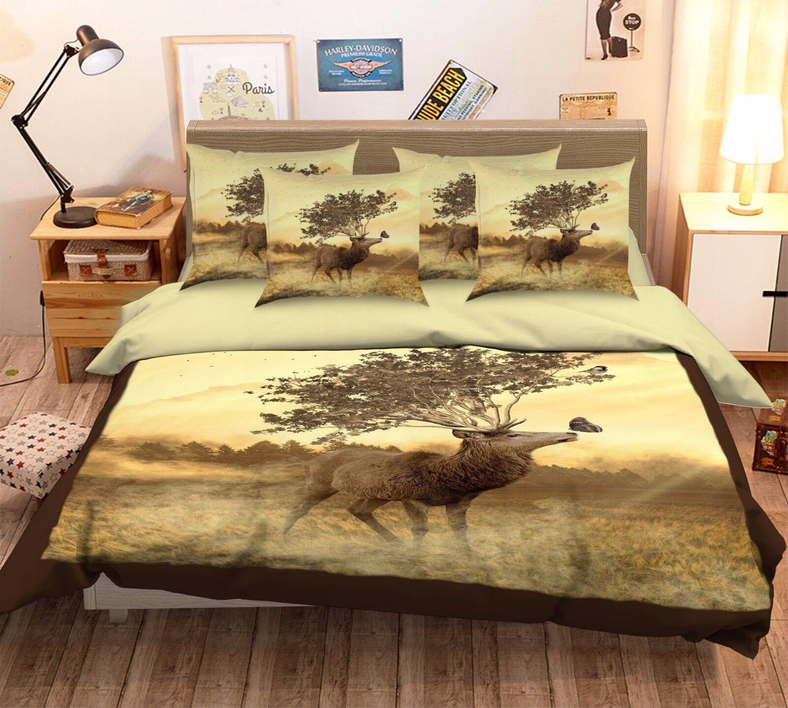 3D Butterfly Forest Elk 58 Bed Pillowcases Quilt Duvet Cover Set Single Queen CA