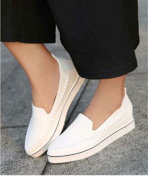 Spring New sneakers hidden wedge pointed toe slip on women shoes casual Running