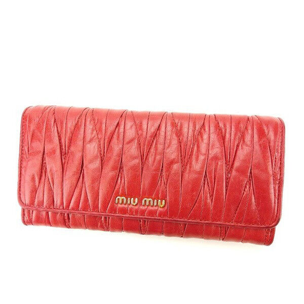 miumiu Wallet Purse Long Wallet Materasse Pink Woman Authentic Used Y4584