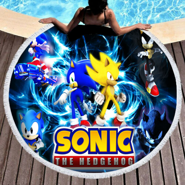 Sonic the Hedgehog Bath Beach Pool Gift Towel Sega Video Game New Spray 60x30