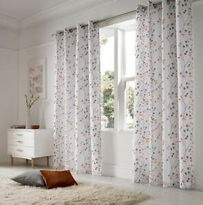 Image Is Loading Berry Orange Embroidered Voile Lined Curtains Less Than