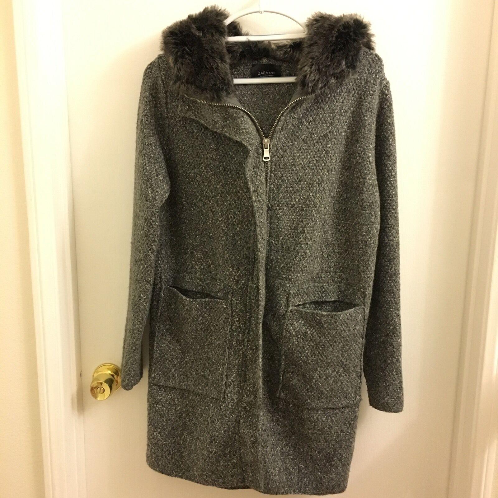 Zara Knit Sweater Coat Faux Fur Hood S