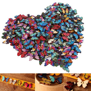 Bulk-50Pcs-Mixed-Butterfly-Phantom-Wooden-Sewing-Buttons-Scrapbooking-2-Holes