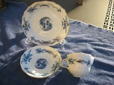 ANTIQUE MEISSEN PORCELAIN TEA CUP, SMALL PLATE, AND SAUCER  BLUE DRAGON PATTERN