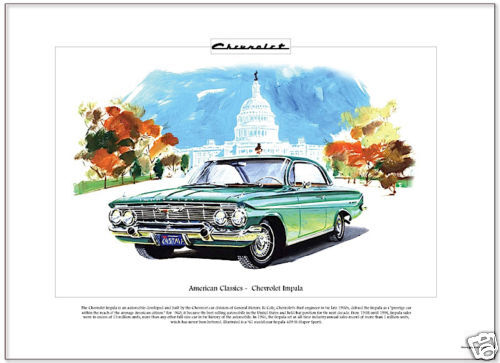 Fine Art Print CHEVROLET IMPALA /'61 American Classics SS Super Sport model