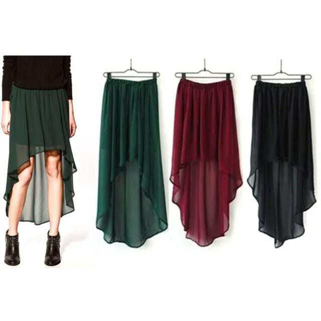 New Sexy Asym Hem Chiffon Skirt Maxi Women Dress Clothes Elastic Waist 3 Colors