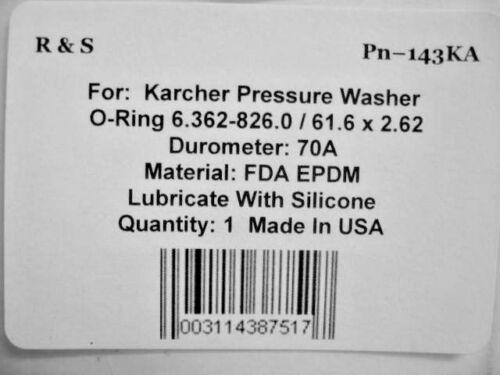 Karcher 6.362-826.0 R/&S 143AR FDA EPDM Material 61.6 X 2.62MM  O-Ring