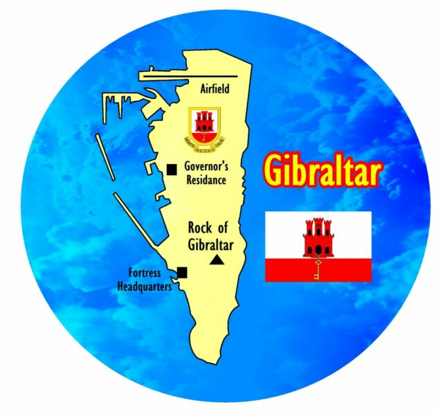 Gibraltar - Redondo Recuerdo Original Imán de Nevera/ Bandera/ Mapa / Nuevo