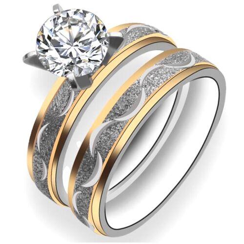 2pcsDamen ring zirkon Ehering paar Ring Titanstahl Ring mode ring Schmuck Neu