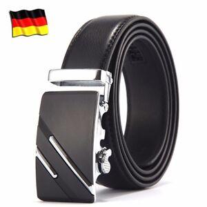 Herren Gürtel Automatik Schnalle Herrengürtel Ratchet Echtes Leder Jeans